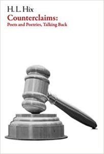 Cover of H. L. Hix's poetry book Counterclaims: Poets and Poetries, talking back. A gavel against a white background